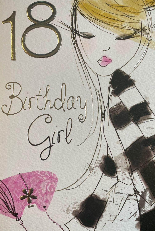 18 Birthday Girl Birthday Card