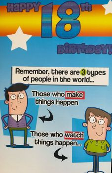 Happy 18th Birthday Remember, there are 3 types of people in the world... Funny Birthday Card