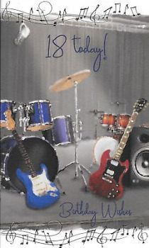 18 Today! Birthday Wishes Guitar Birthday Card