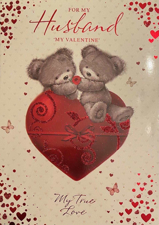 For My Husband 'My Valentine' My True Love - Valentine's Day Card
