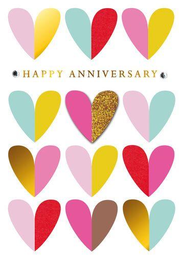 Happy Anniversary - Hearts - Card