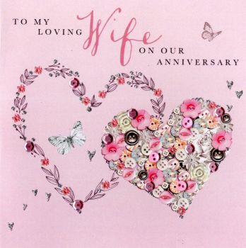 To My Loving Wife On Our Anniversary - Handmade Card
