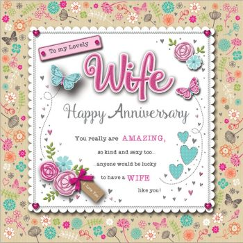 To My Lovely Wife Happy Anniversary - Handmade Boxed Card