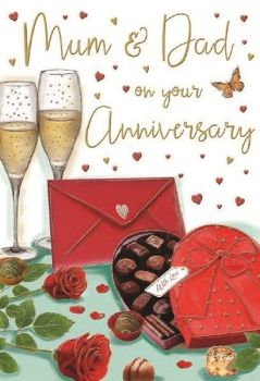 Mum And Dad On Your Anniversary - Card