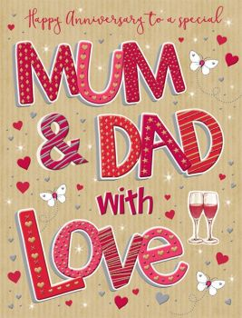 Happy Anniversary To A Special Mum & Dad With Love - Handmade Card