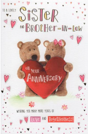 To A Lovely Sister And Brother In Law On Your Anniversary - Card