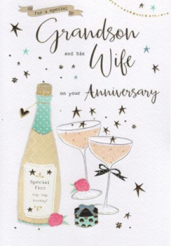 For A Special Grandson And His Wife On Your Anniversary - Card