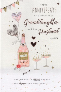 Happy Anniversary To A Wonderful Granddaughter And Her Husband - Card