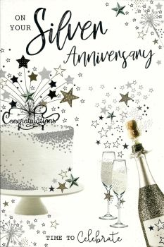 On Your Silver Anniversary Time To Celebrate - Card