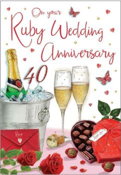 On Your Ruby Wedding Anniversary 40 Years - Card