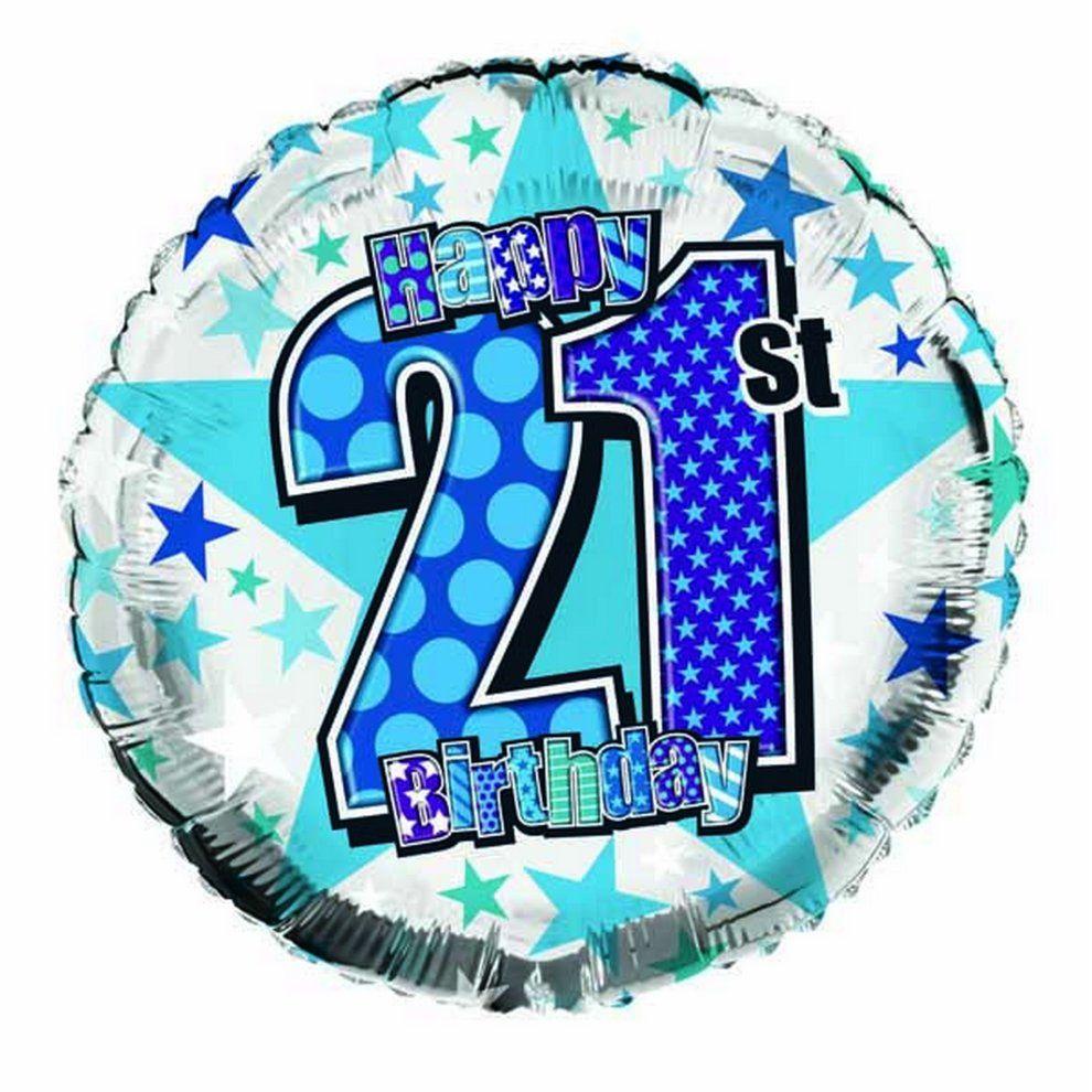 21st Foil Balloon Blue