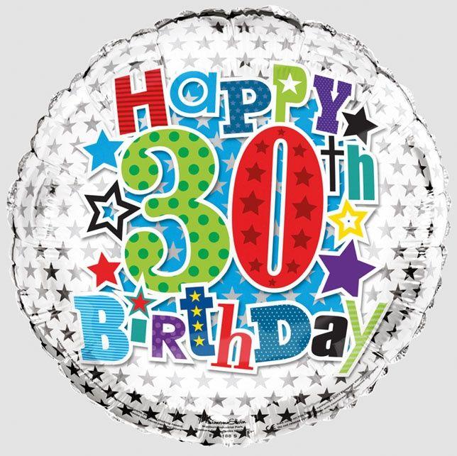 30th Foil Balloon Silver, Blue