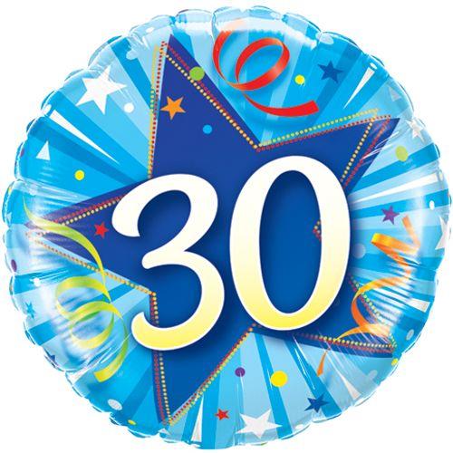 30th Foil Balloon Blue
