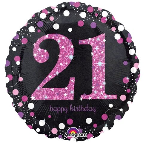 21st Foil Balloon Pink