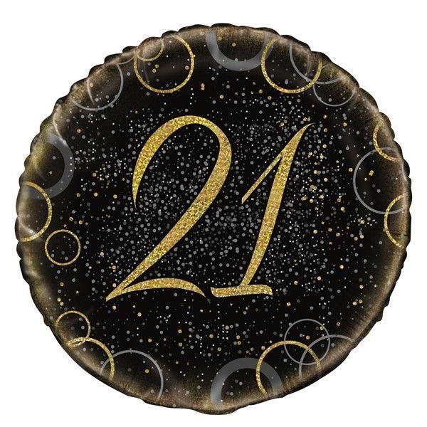 21st Foil Balloon Black & Gold