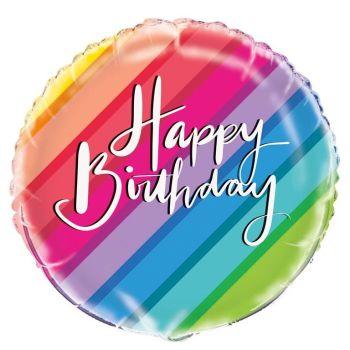 Happy Birthday Foil Balloon Rainbow Stripes