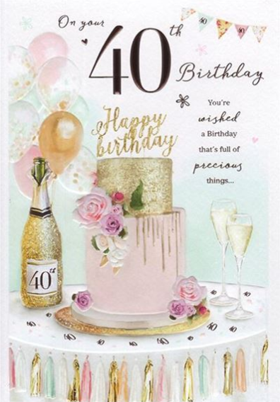 On Your 40th Birthday - Champagne Card