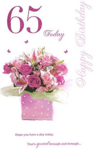 Happy Birthday 65 Today - Card