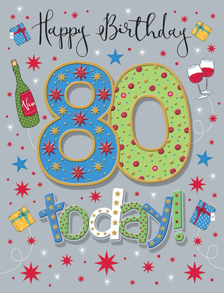 Handmade Happy Birthday 80 Today! Birthday Card