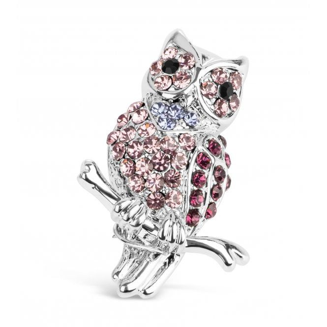 Beautiful Pink Owl Brooch