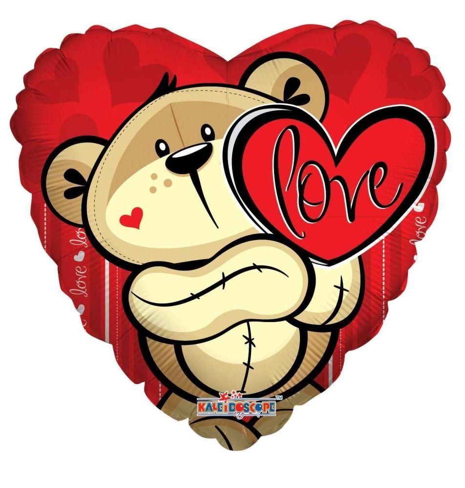 Heart Teddy Love Foil Balloon