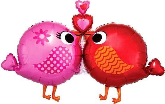 Large Kissing Bird Foil Balloon