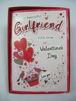 Boxed To My Beautiful Girlfriend With Love On Valentine's Day - Card