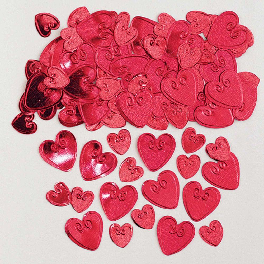 Loving Hearts Ruby Embossed Metallic Confetti 14g