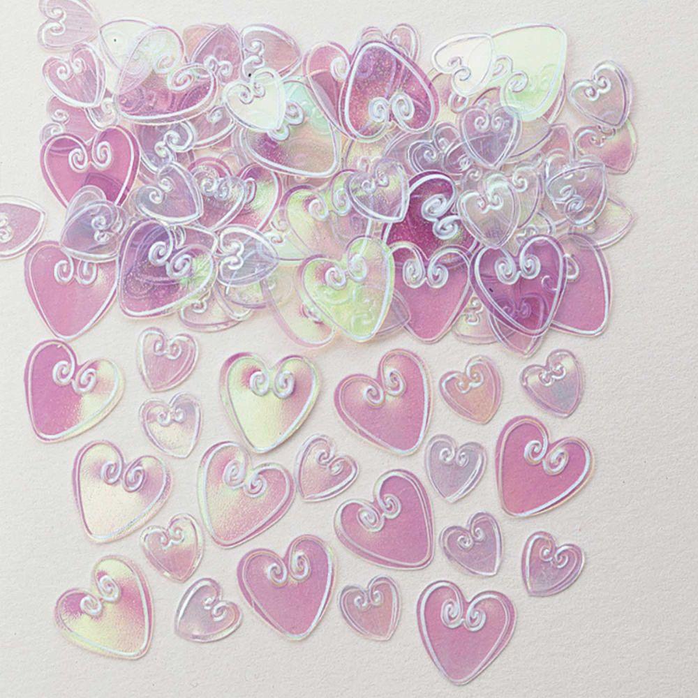 Loving Hearts Iridescent Embossed Metallic Confetti 14g