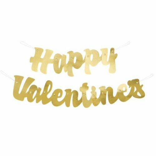 Happy Valentines Day Gold Banner Jointed Script Hanging Decoration 1.2m