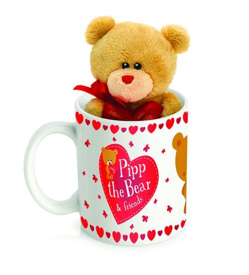 KEEL TOYS 10cm PIPP THE BEAR WITH HEART IN MUG
