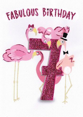 7 Fabulous Birthday - Flamingo - Card