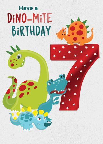 7 Dino-Mile Birthday - Card