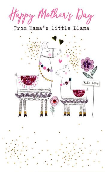 Happy Mother's Day From Mama's little Llama - Card