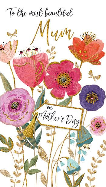 To the most beautiful Mum Tag - on Mother's Day - Card