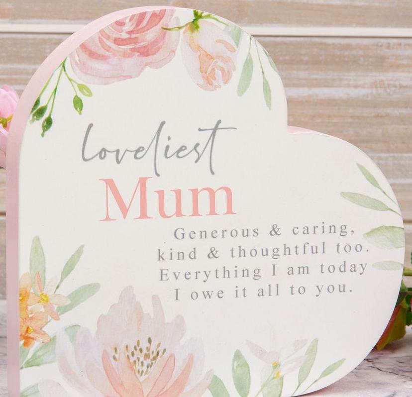 Loveliest Mum Heart Standing Plaque