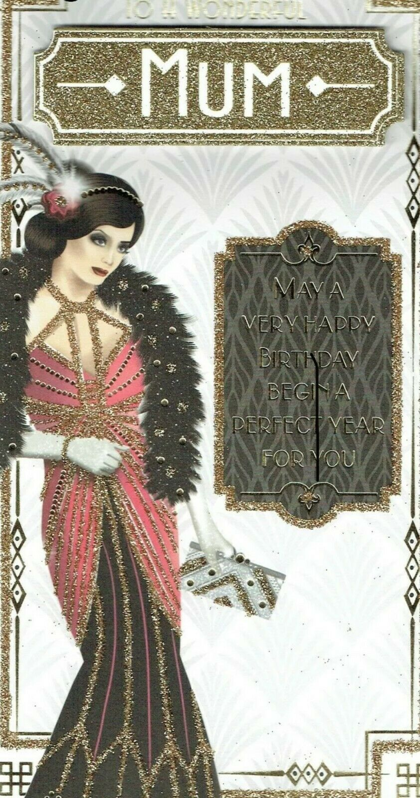 Art Deco Style Birthday Card - To A Wonderful Mum