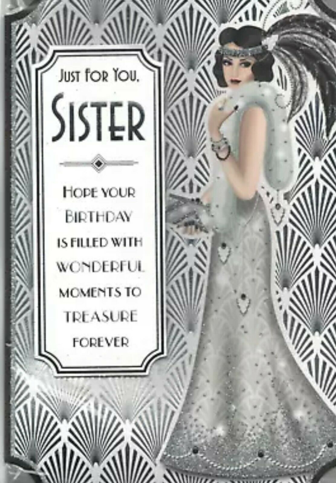 Art Deco Style Birthday Card - Just For You, Sister