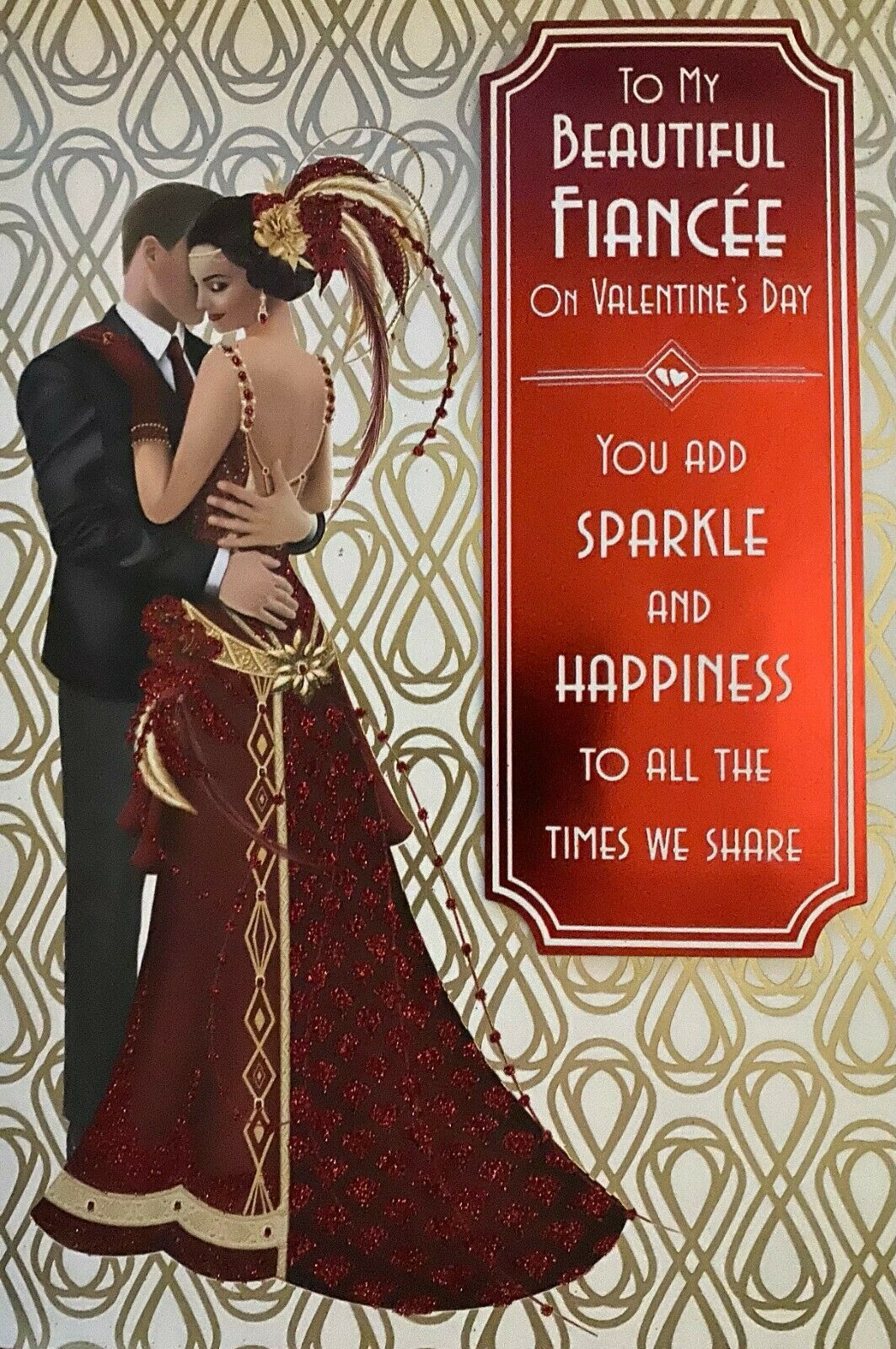 Valentine's Day Card To My Beautiful Fiancée On Valentine's Day - Art Deco