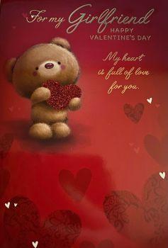 Valentine's Day Card For My Girlfriend - Cute Teddy Happy Valentine's Day
