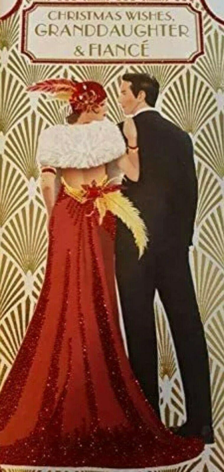 Art Deco Christmas Card - Christmas Wishes, Granddaughter & Fiancé