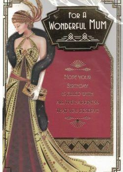 Art Deco Birthday Card - For A Wonderful Mum