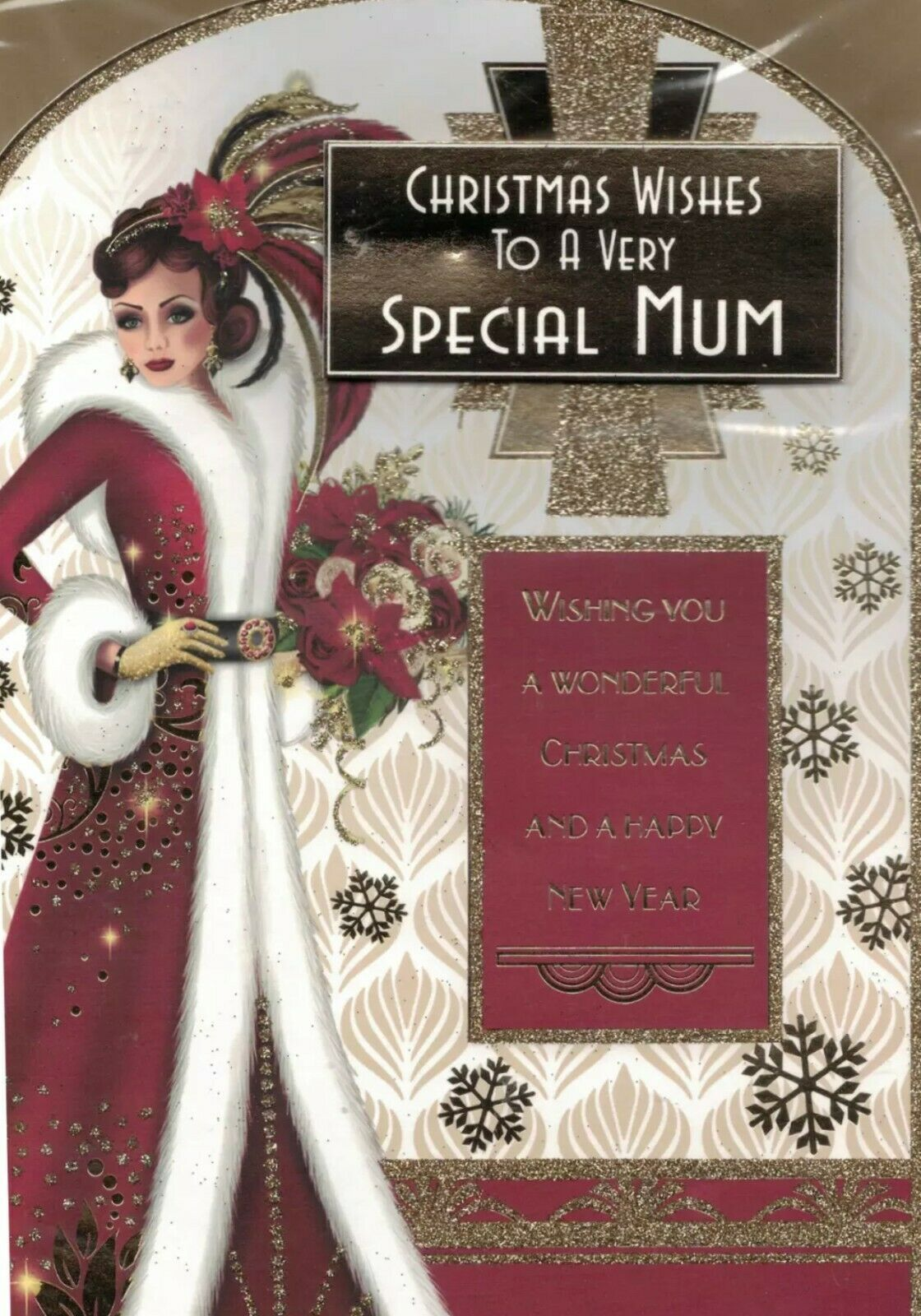 Art Deco Christmas Card - Christmas Wishes To A Very Special Mum