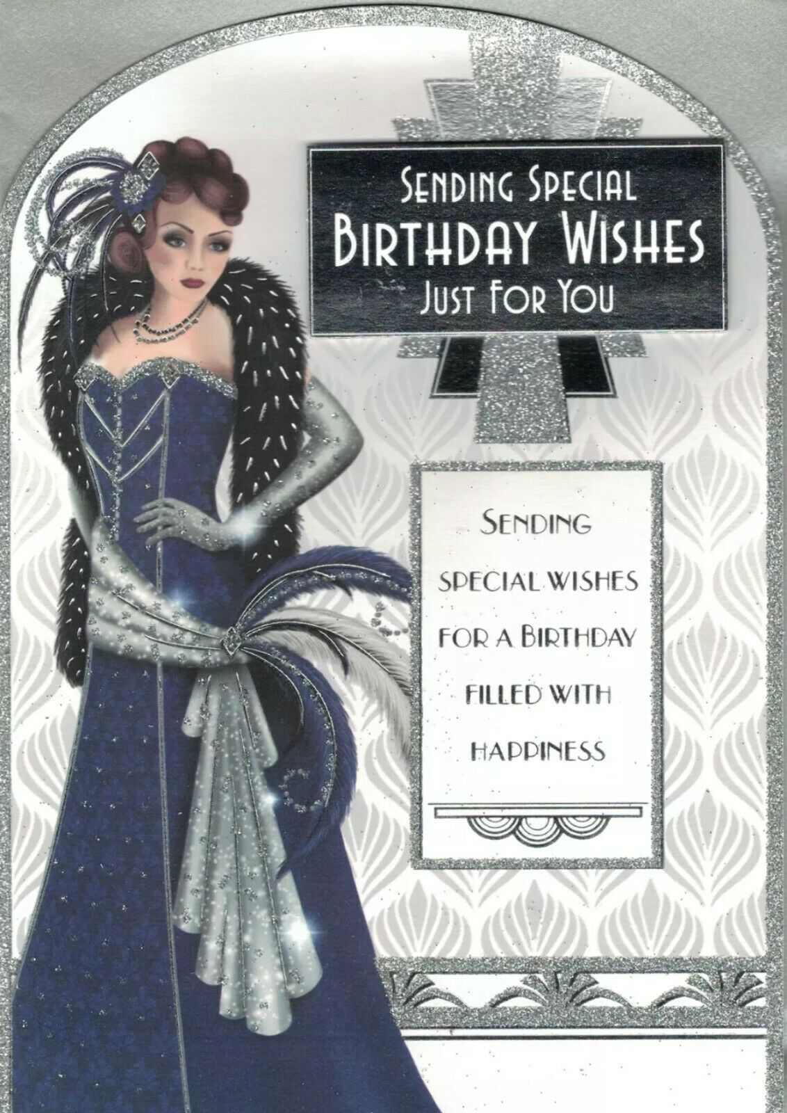 Art Deco Birthday Card - Sending Special Birthday Wishes Just For You