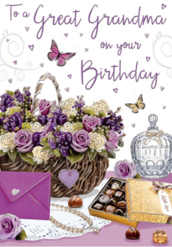 To A Great Grandma On Your Birthday - Card
