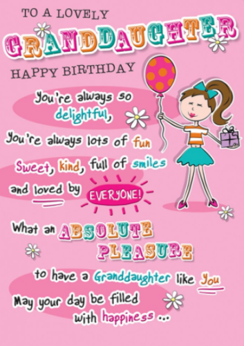 For A Lovely Granddaughter Happy Birthday - Card