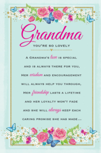 Grandma You're So Lovely Special - Card
