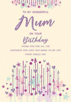 To My Wonderful Mum On Your Birthday - Card