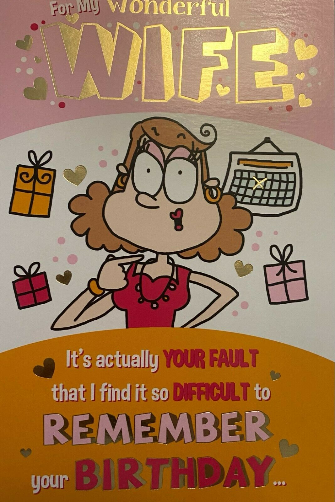 For My Wonderful Wife Humour Birthday - Card