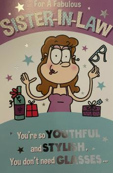 For A Fabulous Sister In Law Humour Birthday - Card